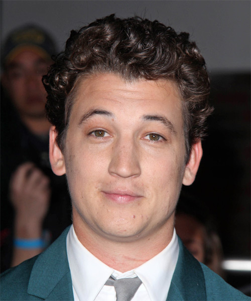Miles Teller Short Curly Casual Hairstyle - Dark Brunette Hair Color