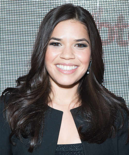 America Ferrera Long Straight Formal Hairstyle - Dark Brunette Hair Color