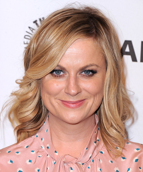 Amy Poehler Medium Wavy Hairstyle - Light Blonde (Copper)