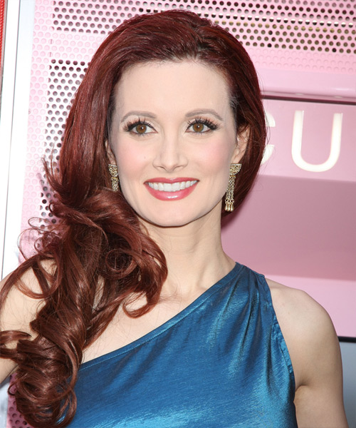 Holly Madison Long Wavy Formal Hairstyle - Medium Red (Burgundy) Hair Color