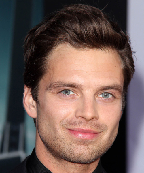 Sebastian Stan Short Straight Casual Hairstyle Dark
