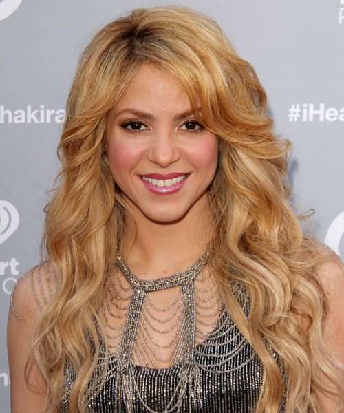Shakira Long Wavy Casual Hairstyle - Medium Blonde (Golden) Hair Color
