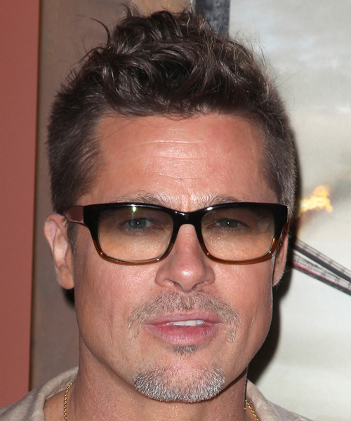 Brad Pitt Short Wavy Casual Hairstyle - Medium Brunette Hair Color