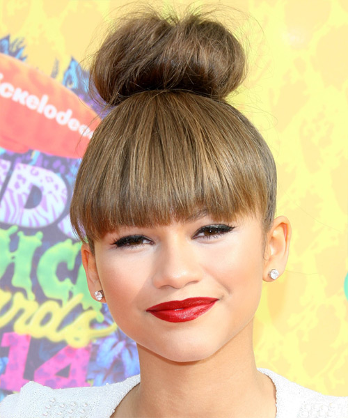 Zendaya Coleman Straight Casual Updo Hairstyle with Razor Cut Bangs - Medium Brunette (Ash) Hair Color