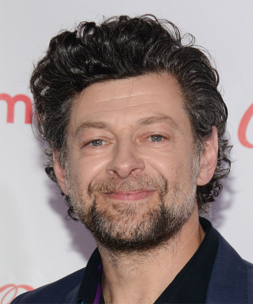 Andy Serkis Short Wavy Hairstyle - Dark Grey