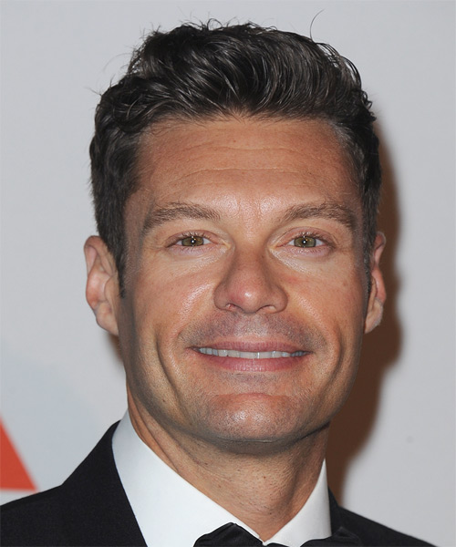 Ryan Seacrest Short Straight Casual Hairstyle - Dark Brunette Hair Color