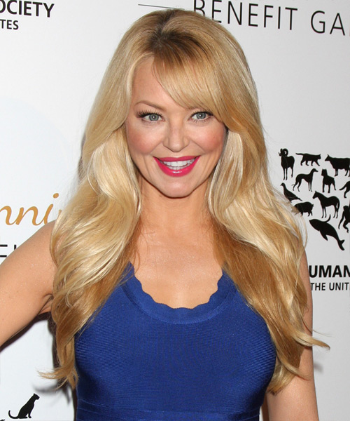 Charlotte Ross Long Straight Formal Hairstyle with Side Swept Bangs - Medium Blonde (Golden) Hair Color