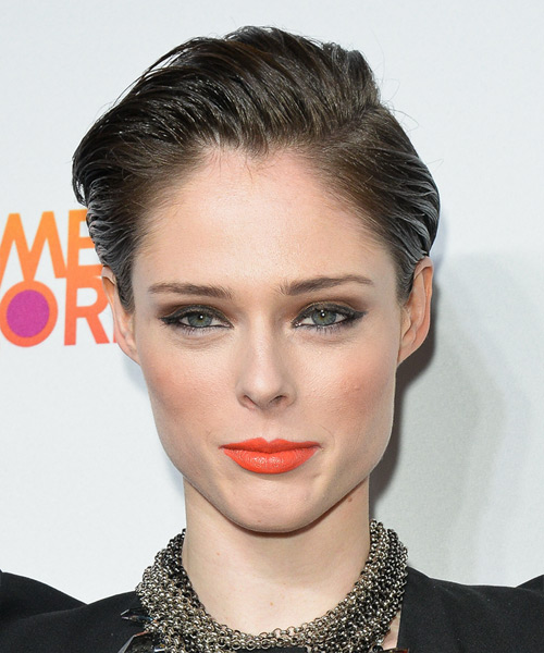 Coco Rocha Short Straight Hairstyle - Medium Brunette (Ash)