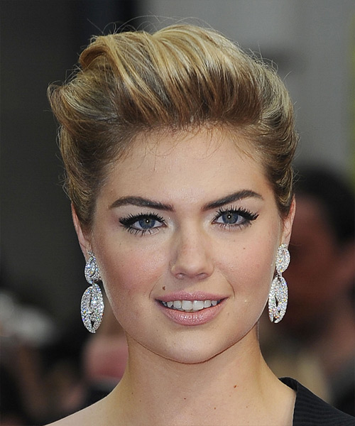 Kate Upton Updo Long Straight Formal Updo Hairstyle - Dark Blonde (Golden) Hair Color