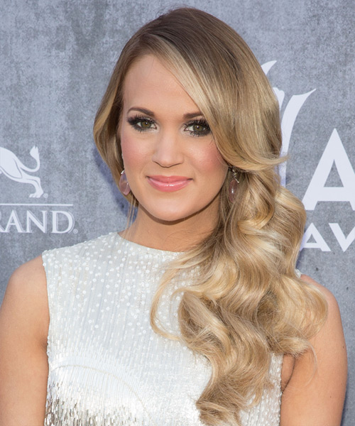Carrie Underwood Long Wavy Formal Hairstyle - Medium Blonde Hair Color
