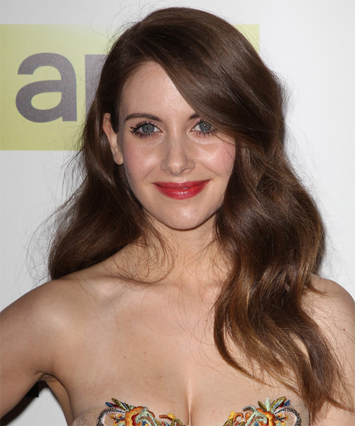 Alison Brie Long Wavy Formal Hairstyle - Medium Brunette (Chocolate) Hair Color