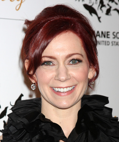 Carrie Preston Straight Casual Updo Hairstyle - Medium Red Hair Color