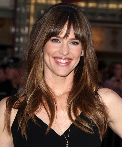 Jennifer Garner Long Straight Casual Hairstyle with Layered Bangs - Medium Brunette Hair Color