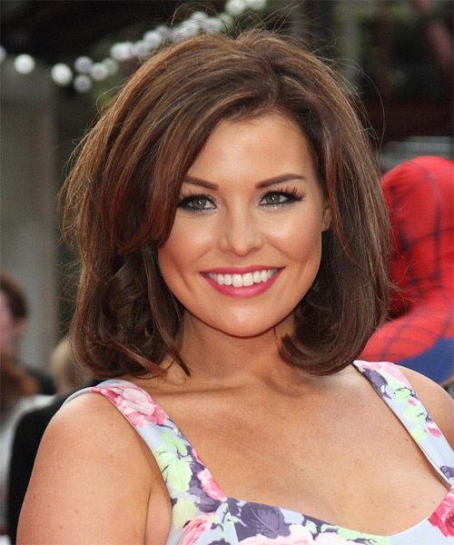 Jessica Wright Medium Straight Casual Bob Hairstyle - Medium Brunette Hair Color