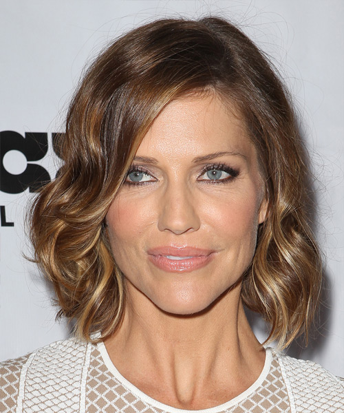 Tricia Helfer Medium Wavy Hairstyle - Medium Brunette (Caramel)