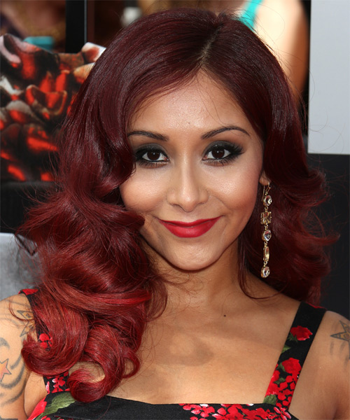 Nicole Snooki Polizzi Long Wavy Hairstyle - Medium Red (Burgundy)