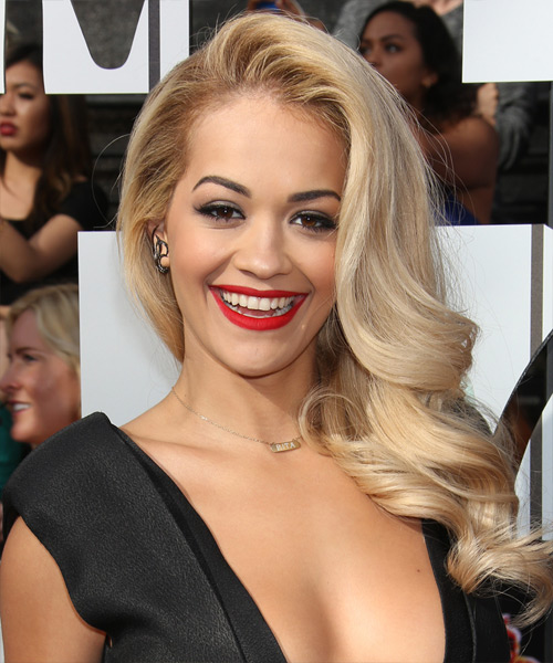Rita Ora Long Wavy Hairstyle - Light Blonde