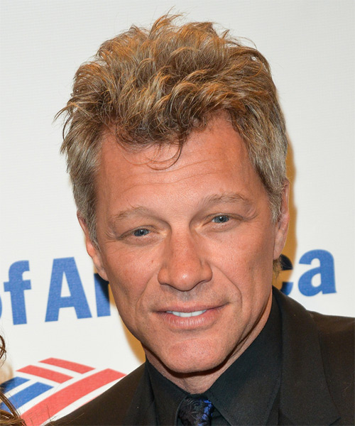 Jon Bon Jovi Short Straight Hairstyle - Medium Blonde