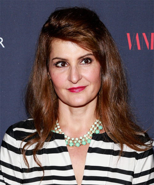 Nia Vardalos Straight Casual Half Up Hairstyle - Medium Brunette (Auburn) Hair Color