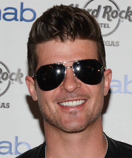 Robin Thicke Short Straight Hairstyle - Medium Brunette (Ash)