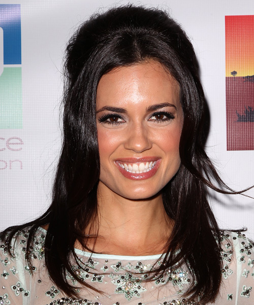 Torrey DeVitto Half Up Long Straight Hairstyle - Dark Brunette