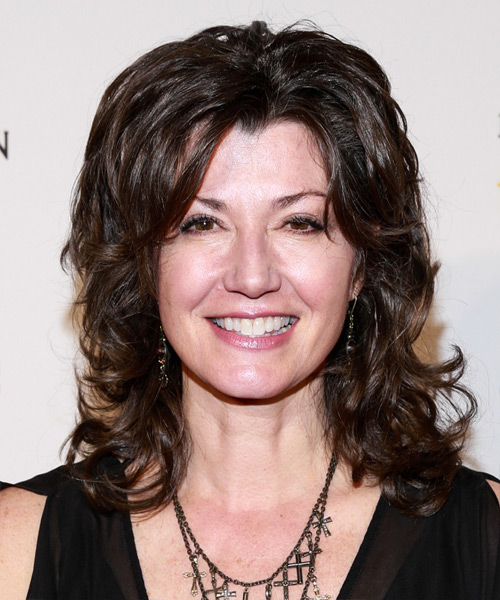 Amy Grant Medium Wavy Casual Hairstyle - Dark Brunette Hair Color