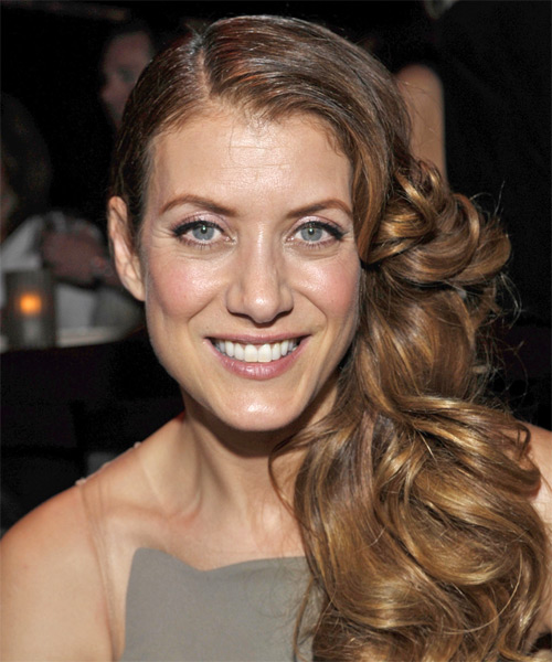 Kate Walsh Curly Formal Half Up Hairstyle - Medium Brunette Hair Color