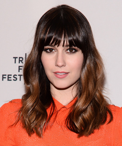 Mary Elizabeth Winstead Long Wavy Casual Hairstyle with Blunt Cut Bangs - Dark Brunette Hair Color