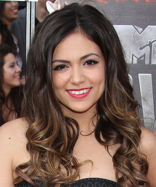Bethany Mota Long Curly Formal Hairstyle - Dark Brunette Hair Color