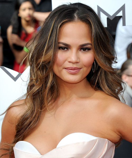 Christine Teigen Long Wavy Casual Hairstyle - Medium Brunette Hair Color