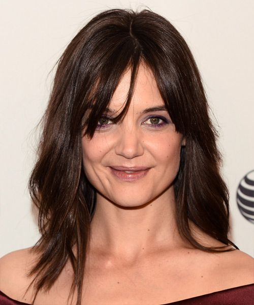 Katie Holmes Long Straight Casual Hairstyle with Layered Bangs - Medium Brunette (Chocolate) Hair Color
