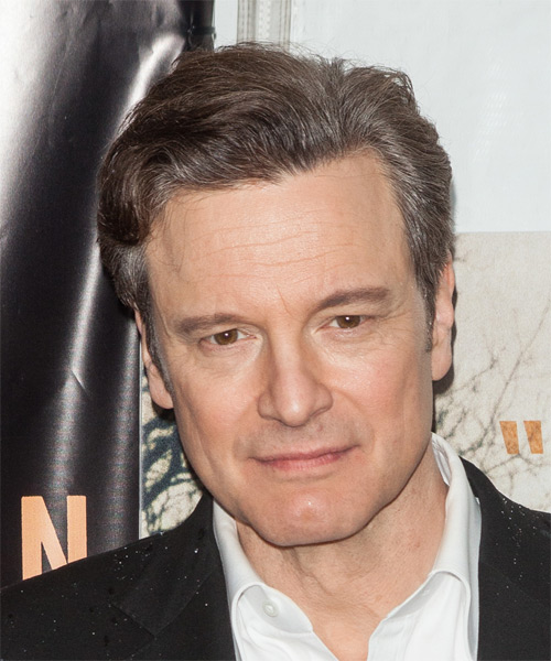 Colin Firth Short Straight Formal Hairstyle - Medium Brunette Hair Color