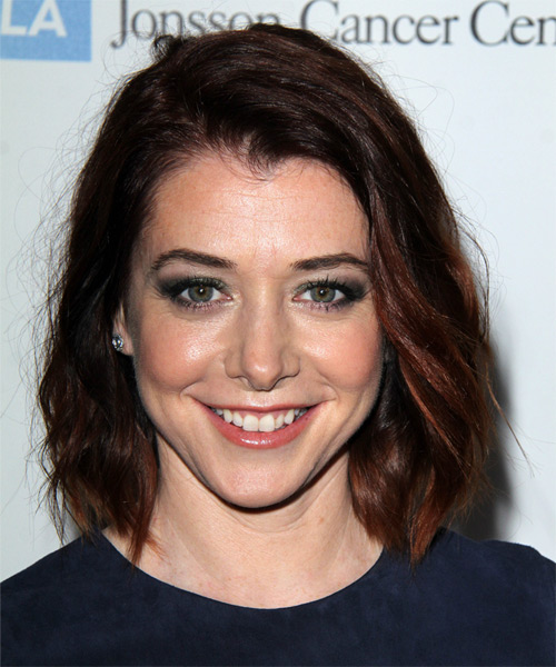 Alyson Hannigan Medium Wavy Hairstyle - Dark Red