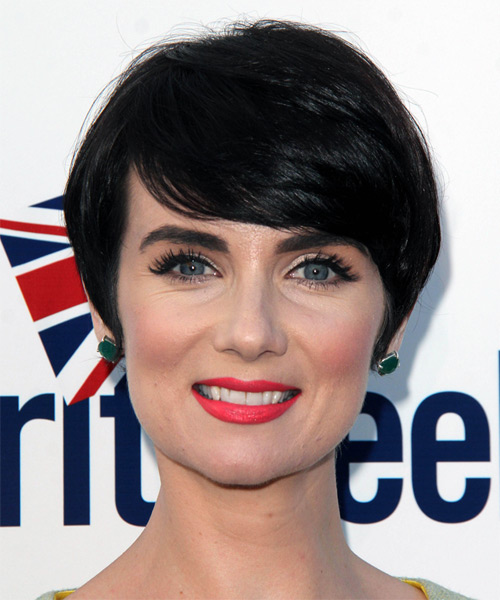 Victoria Summer Short Straight Formal Hairstyle with Side Swept Bangs - Black Hair Color