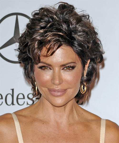 Lisa Rinna Short Straight Casual Hairstyle - Dark Brunette (Mocha) Hair Color