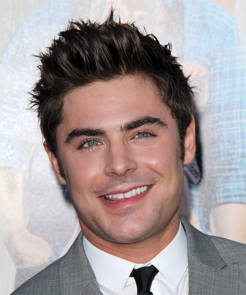 Zac Efron Short Straight Hairstyle - Dark Brunette (Chocolate)