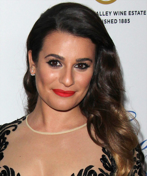 Lea Michele Long Wavy Formal Hairstyle - Dark Brunette Hair Color