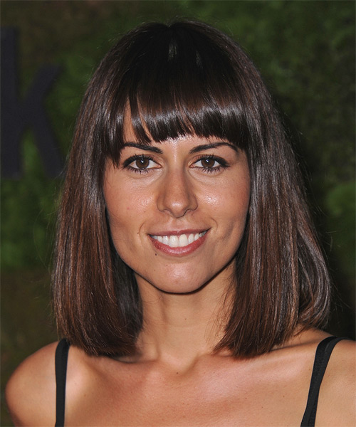 Sabina Akhmedova Medium Straight Casual Bob Hairstyle with Blunt Cut Bangs - Dark Brunette (Mocha) Hair Color