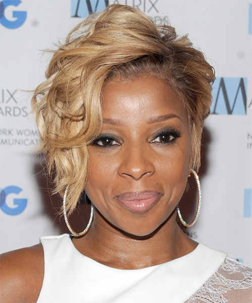 Mary J Blige Short Wavy Hairstyle - Medium Blonde