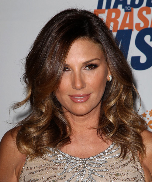 Daisy Fuentes Medium Wavy Hairstyle - Dark Brunette