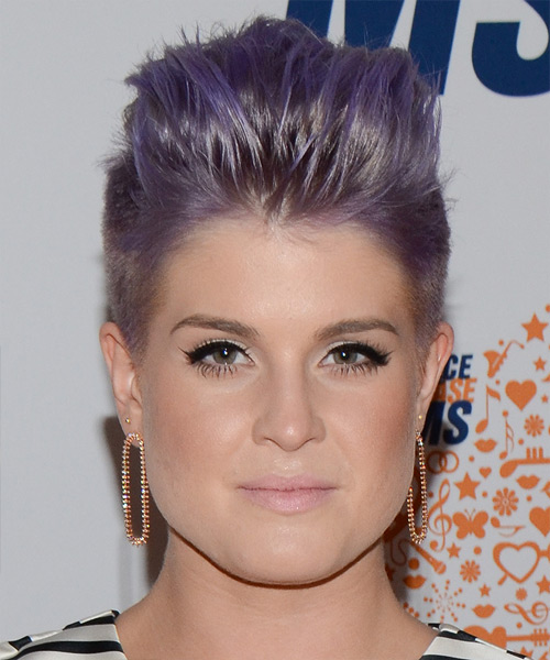 Kelly Osbourne Short Straight Emo Hairstyle - Purple