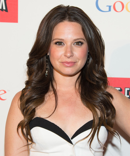 Katie Lowes Long Wavy Formal Hairstyle - Medium Brunette (Chocolate) Hair Color