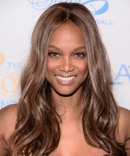 Tyra Banks Long Straight Casual Hairstyle - Medium Brunette (Chestnut) Hair Color