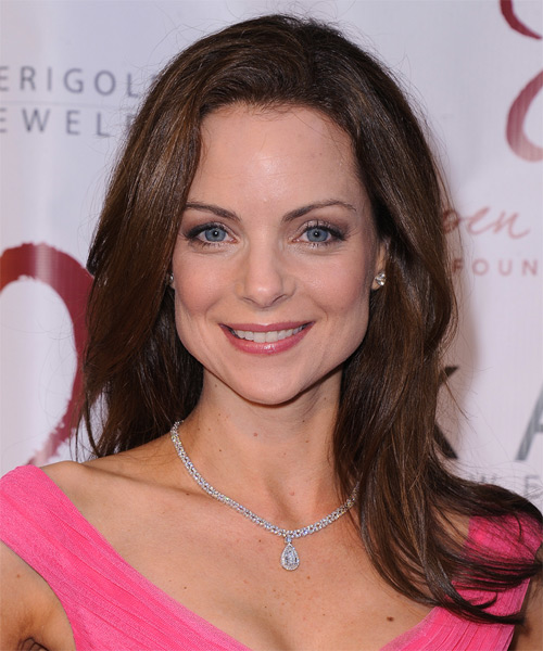 Kimberly Williams Long Straight Formal Hairstyle - Medium Brunette (Chocolate) Hair Color