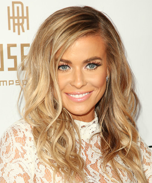 Carmen Electra Long Wavy Casual Hairstyle - Medium Blonde (Golden) Hair Color