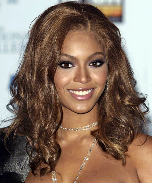 Beyonce Knowles Long Curly Hairstyle - Medium Brunette (Chocolate)