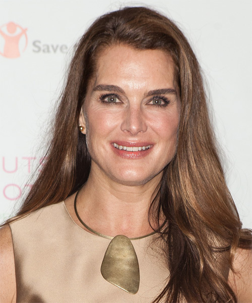 Brooke Shields Long Straight Casual Hairstyle - Medium Brunette Hair Color