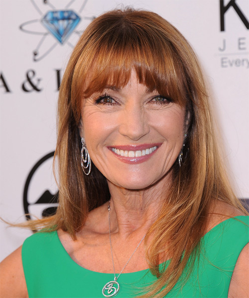 Jane Seymour Long Straight Casual Hairstyle with Blunt Cut Bangs - Medium Red (Copper) Hair Color