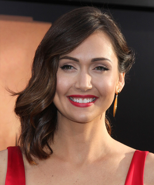 Jessica Chobot Medium Wavy Formal Hairstyle - Medium Brunette (Chocolate) Hair Color