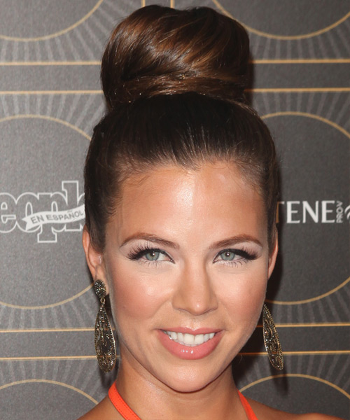 Ximena Duque Straight Formal Updo Hairstyle - Dark Brunette Hair Color